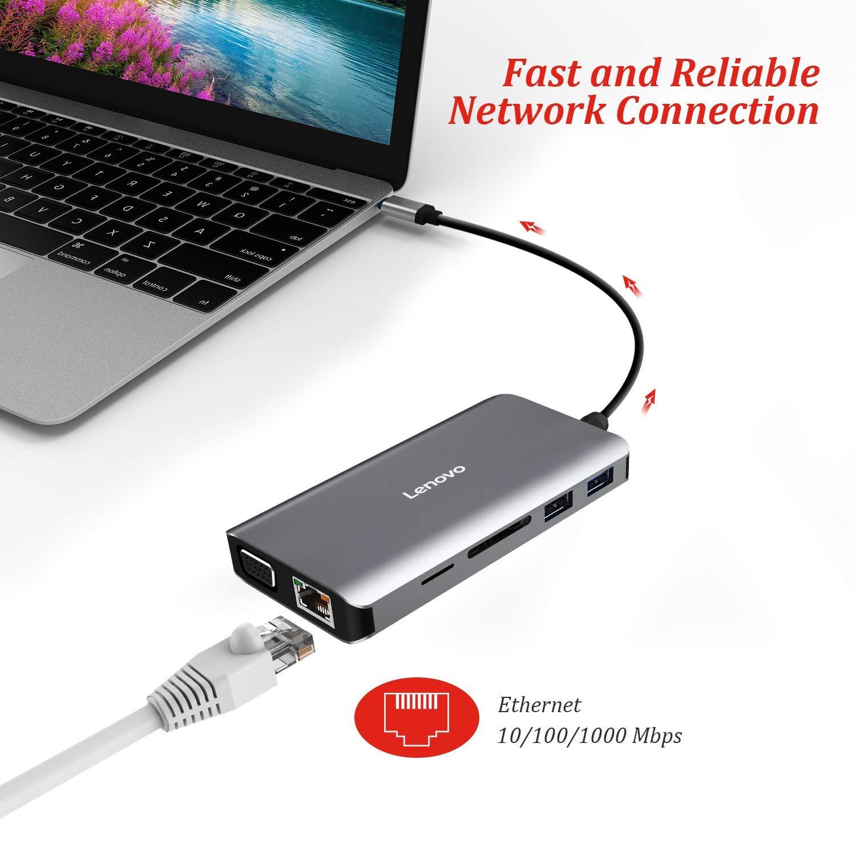 Lenovo USB C Hub, Type C Adapter With 4K HDMI - Grey| Blink Kuwait