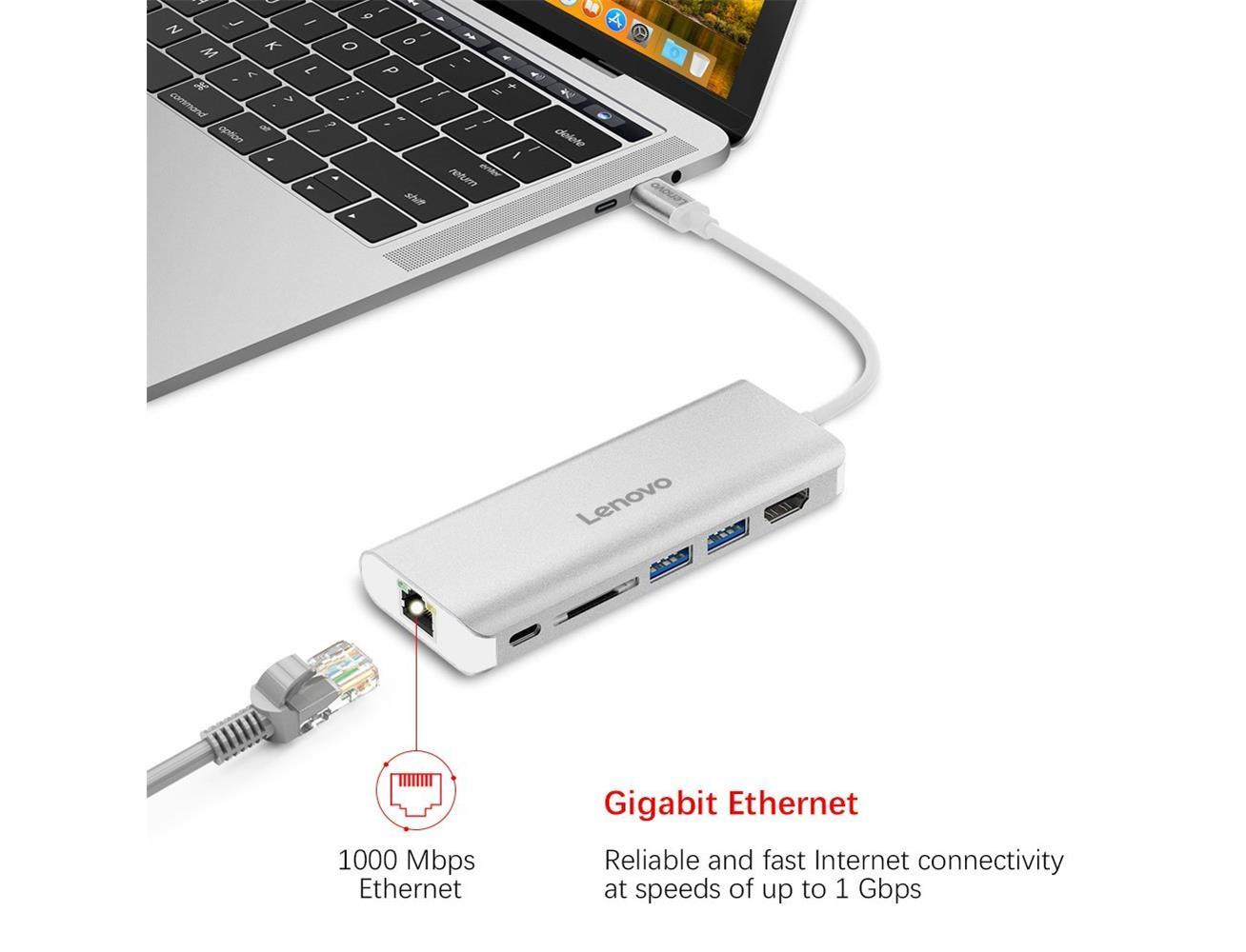 Lenovo USB-C Hub, Aluminum Type C Adapter With HDMI Port - Silver