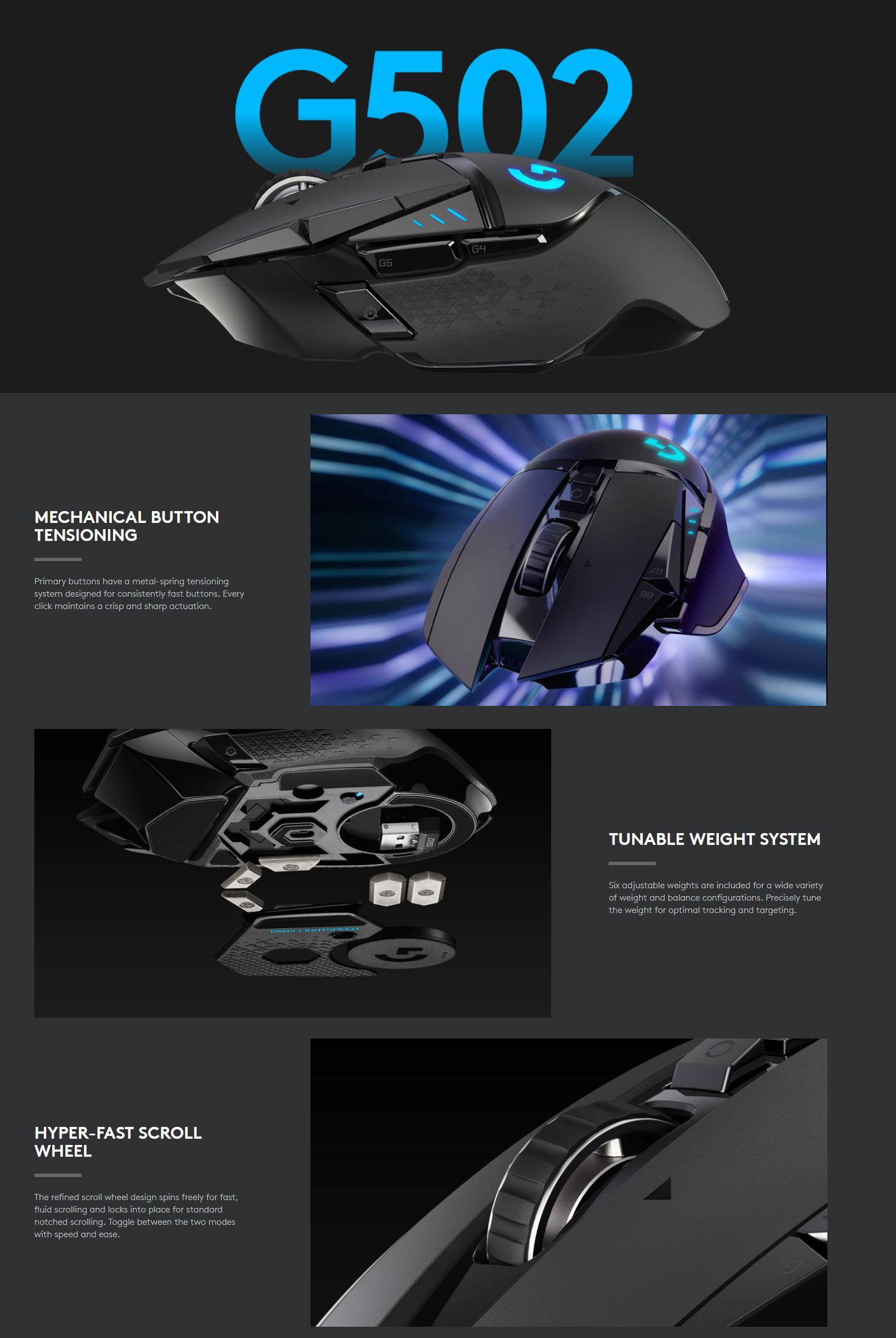 Logitech G502 Wireless Gaming Mouse, LightSpeed, UltraFast, Hero 16K  Sensor, PowerPlay Compatible, 16000 DPI, LightSync RGB, Tunable Weights,