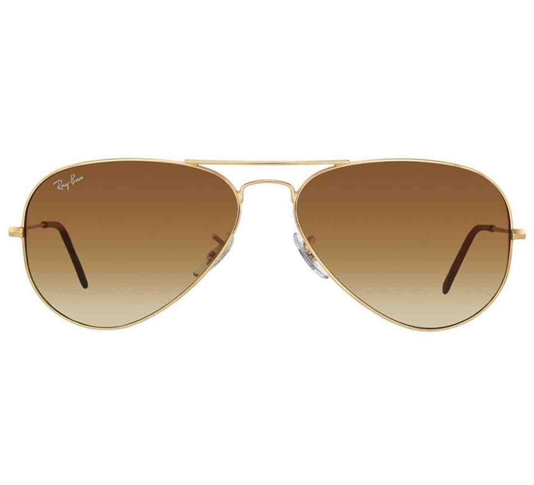 2e49bdeebca95 ... Ray-Ban RB3025 001 51 Aviator Size 58 Golden Frame Sunglasses - Light  Brown