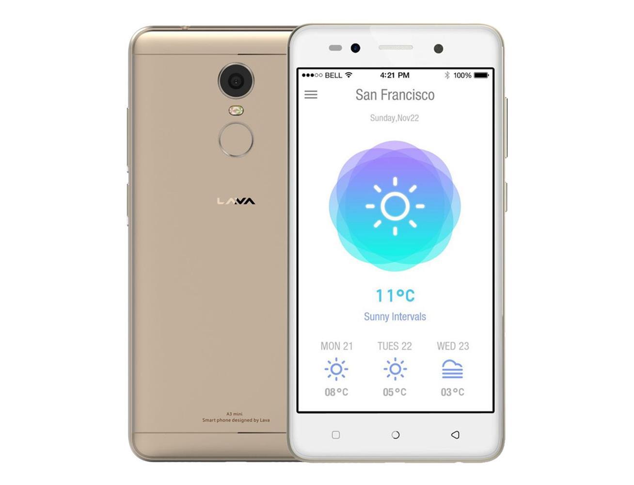 Lava A3 Mini Dual Sim Smart Phone, 5'', 16GB, 2GB RAM, 4G LTE, Gold