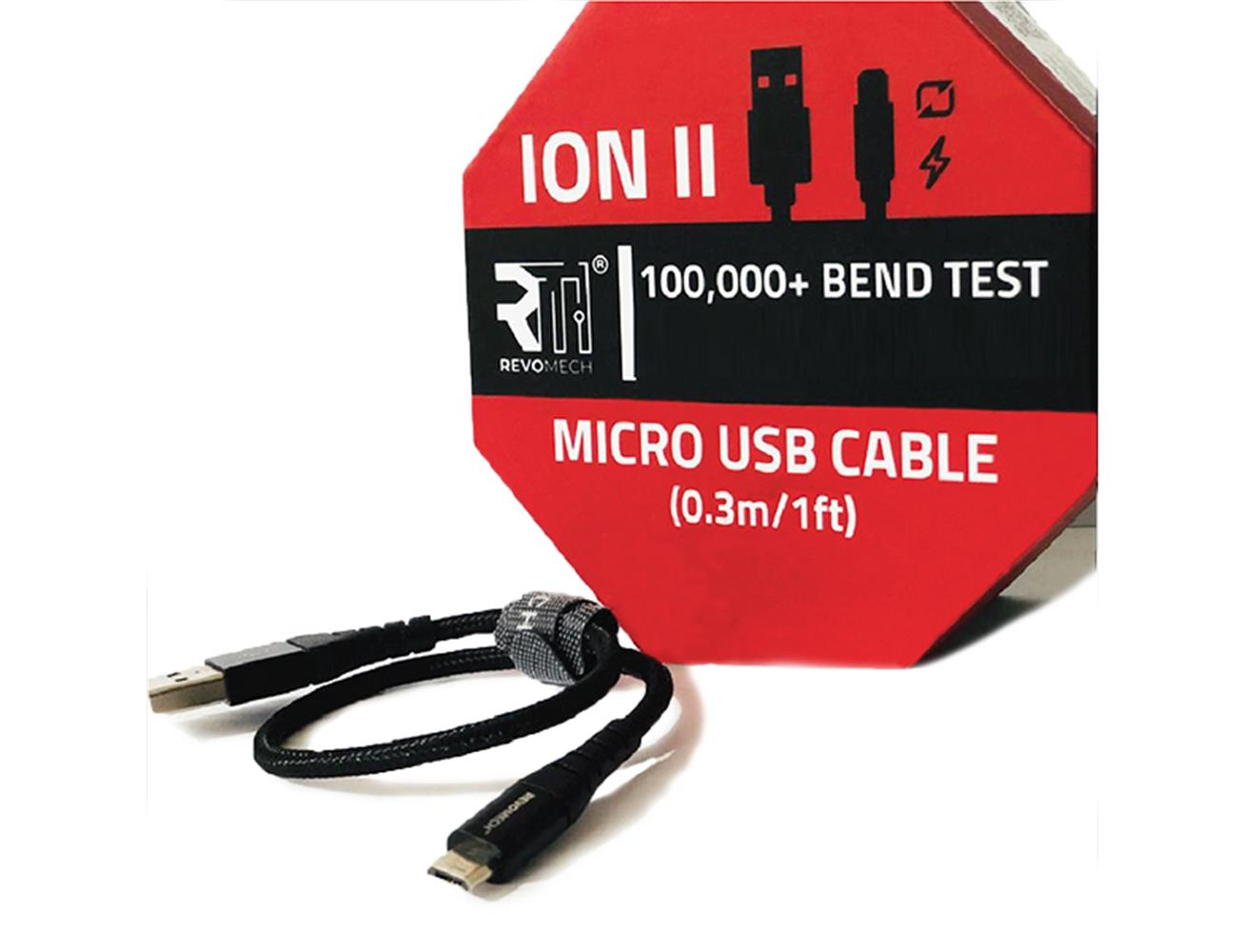 Revomech Ion Micro Usb Charging Cable 0 3m Black Blink